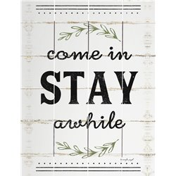 Wood Pallet Art - Come in Stay (white)