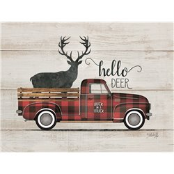 Wood Pallet Art - Hello Deer - Vintage Truck
