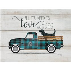Wood Pallet Art - Love and a Dog - Vintage Truck