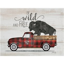 Wood Pallet Art - Wild and Free - Vintage Truck
