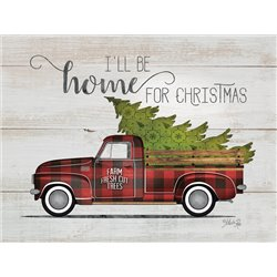 Wood Pallet Art - Home for Christmas - Vintage Truck