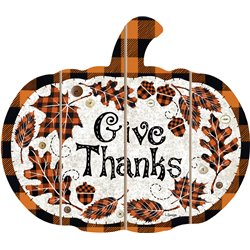 Cut Out Pallet Art - Give Thanks - Buffalo Checkered