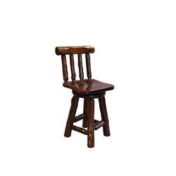 Red Cedar Log Swivel Bar Stool w/Back - Adirondack Collection