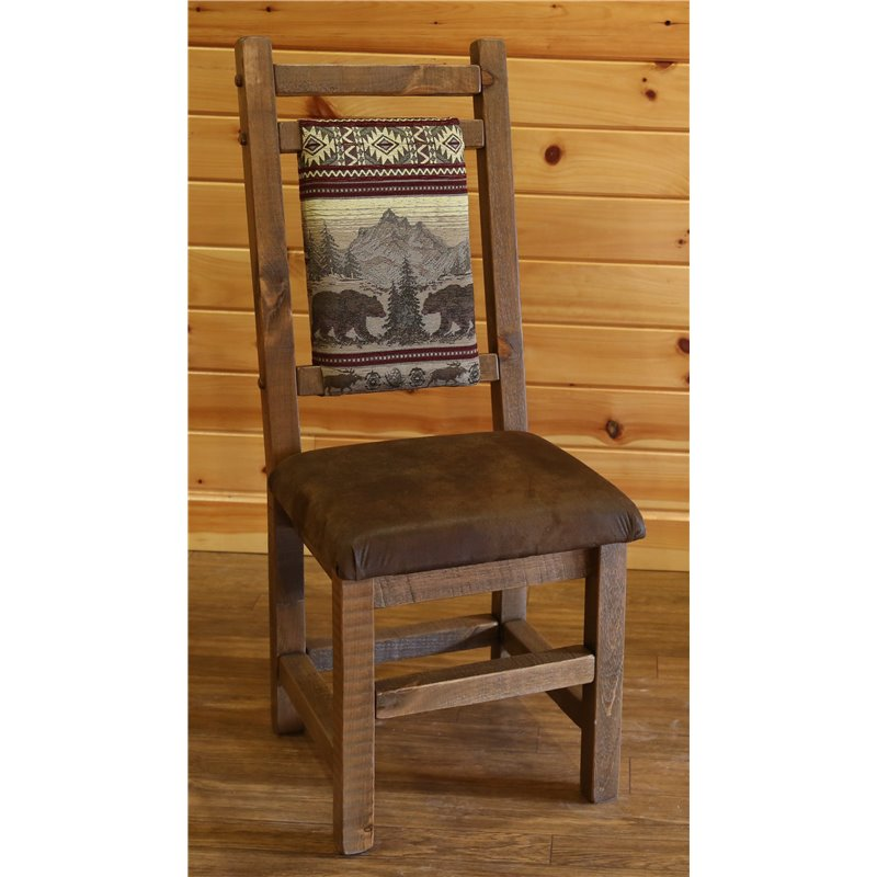 Set of 2 Barnwood Style High Back Timber Peg Upholstered Dining Chairs