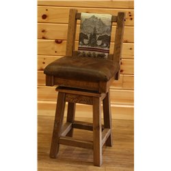Barnwood Style Timber Peg Swivel Stool with Fabric Back and Faux Leather Seat