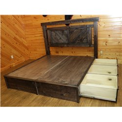 Barnwood Style Timber Peg Panel Platform Bed with Storage