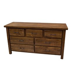 Barnwood Style Timber Peg 6 or 7 Drawer Dresser