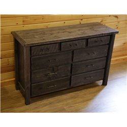 Barnwood Style Timber Peg 9 Drawer Dresser