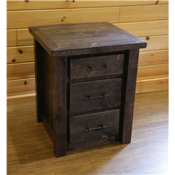 Barnwood Style Timber Peg 3 Drawer End Table/Nightstand
