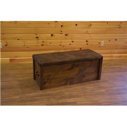Barnwood Style Timber Peg Cushion Top Storage Chest