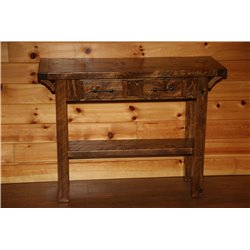 Barnwood Style Timber Peg Sofa Table with Drawers