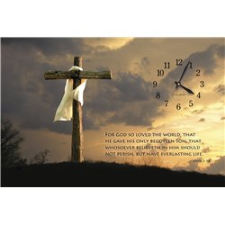 Precious Melodies Clock - John 3:16 Cross with It's a Beautiful Day Chimes