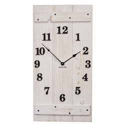 Precious Melodies Rustic Whitewashed Wood Clock with Chimes
