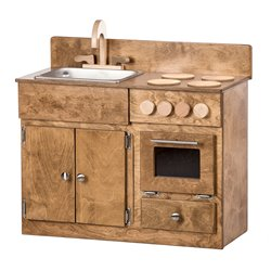 Child's Play Sink & Stove Combo, Refrigerator, Hutch, & Table with 4 Chairs (8 Piece Set) - Industrial Collection