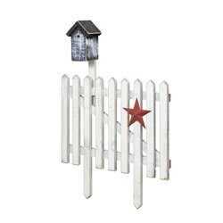 Primitive Picket Fence with Birdhouse Decoration