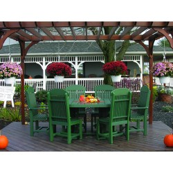 Poly Outdoor 4x6 Foot Oval Table, 2 Captain Chairs, 4 Regular Chairs - Dining, Counter, or Bar Height