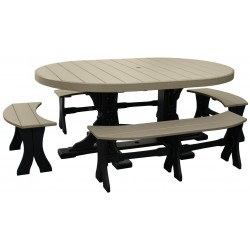 Poly Lumber Outdoor 4x6 Foot Oval Table and 4 Benches