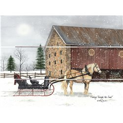 Wood Pallet Art - Work Horse and Sleigh, Stone Barn