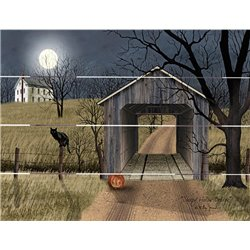 Wood Pallet Art - Black Cat, Jack-O'Lantern and Covered Bridge