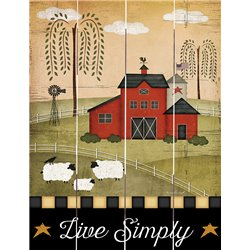 Wood Pallet Art - Live Simply- Red Primitive