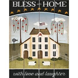 Wood Pallet Art - Bless Our Home, With Love and Laughter Primitive