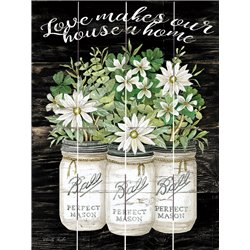 Wood Pallet Art - Love Makes Our House a Home, Mason Jars with Flowers