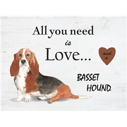 Wood Pallet Art - Love and a Basset Hound