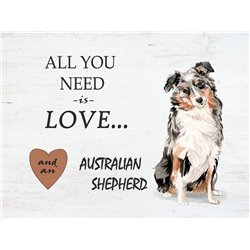 Wood Pallet Art - Love and a Australian Shepherd