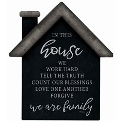 In this House - House Cut Out Pallet Art