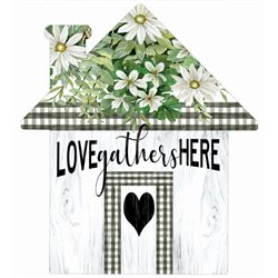 Love Gathers Here - House Cut Out Pallet Art