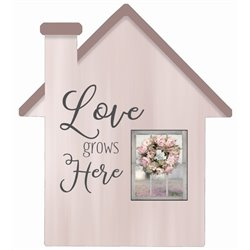Love Grows Here One - House Cut Out Pallet Art