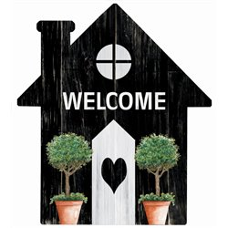Welcome - House Cut Out Pallet Art