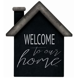 Welcome to our Home - Black House Cut Out Pallet Art