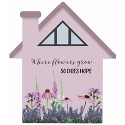 Where Flowers Grow - House Cut Out Pallet Art
