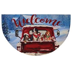 Red Truck Christmas Welcome Mat