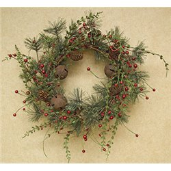 22 Inch Red Berry Pine Wreath