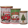 Set of 3 Merry Christmas Canisters