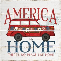 Wood Pallet Art - America my Home Station Wagon