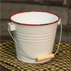 Red Rim Enamel Bucket
