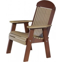 Poly 2ft. Classic Highback Bench / Chair - Weatherwood and Chestnut Brown
