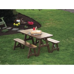 5' Traditional Table with 2 Benches - Coffee