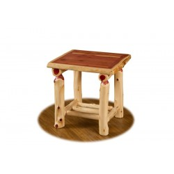 Rustic Red Cedar Log End Table / Night Stand with Shelf