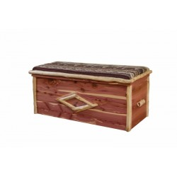 Rustic Red Cedar Log CUSHION TOP BLANKET CHEST