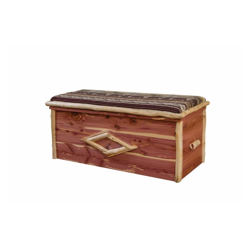 Rustic red cedar log blanket chest cushion top for Log furniture