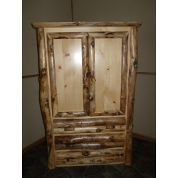 Rustic Aspen Log Armoire 2 Doors and 3 Drawers