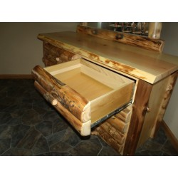 Rustic Aspen Log 6 Drawer Dresser