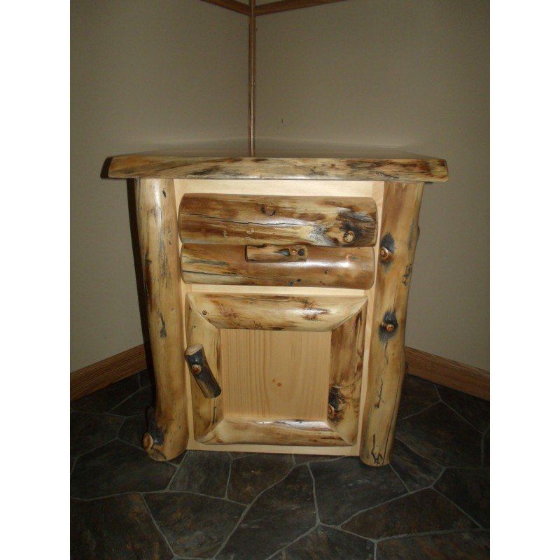 Rustic Aspen Log Nightstand 1 Door And 1 Drawer