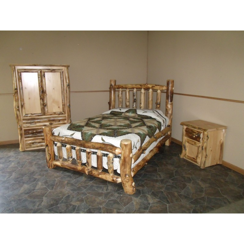 Rustic Aspen Log Bedroom Set Includes Bed Armoire Amp Nightstand