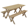 Economy 5 Foot Pine Picnic Table with 2 Detached Benches