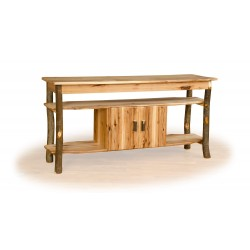 Rustic Hickory TV Stand with Center Cabinet - Hickory & Oak or All Hickory